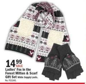 Ladies' Fox in the Forrest Mitten & Scarf Gift Set