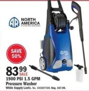 North America 1900 PSI 1.5 GPM Pressure Washer