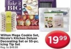 Wilton Mega Cookie Set, Nicole's Kitchen Deluxe Decorating Set or 55 pc. Icing Tip Set