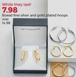 Boxed Fine Silver and Gold Plated Hoops