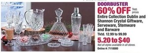 Entire Stock of Collection Dublin & Shannon Crystal Giftware, Stemware & Barware