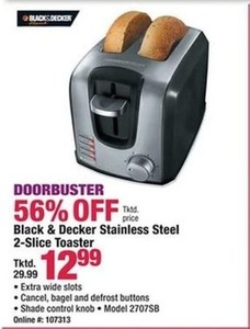 Black & Decker Stainless Steel 2-Slice Toaster