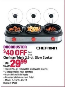 Chefman Triple 2.5qt Slow Cooker