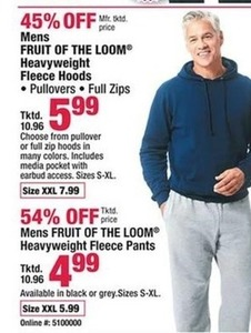 Men's Fruit of the Loom Heavyweight Fleece Pants