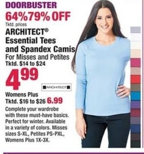 Architect Essential Tees and Spandex Camis, Misses & Petites