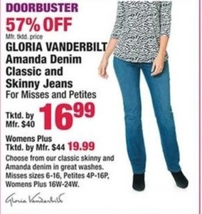 Gloria Vanderbilt Amanda Jeans for Misses & Petites