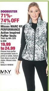 Misses Marc NY Performance Active Inspired Puffer Vests