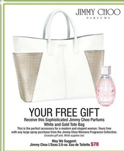 Jimmy Choo Parfums White & Gold Tote Bag w/ Large Spray Jimmy Choo Women's Fragrance Purchase