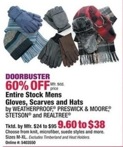 Entire Stock Mens Gloves, Scarves, and Hats