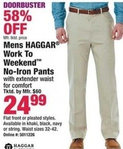 Haggar Men's Work to Weekend No-Iron Pants