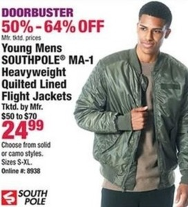 Young Mens Southpole MA-1 Heavyweight Quilted Lined Flight Jackets