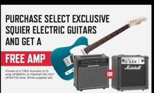 Purchase Select Squier Guitars, Get Free Amp