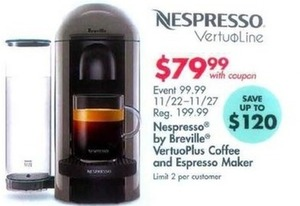 Nespresso by Breville VertuoPlus Coffee & Espresso Maker w/ Coupon