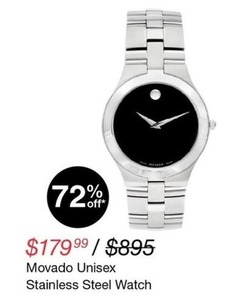 Movado Unisex Stainless Steel Watch
