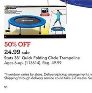 Stats Sports 38 inch Quick Folding Circle Trampoline