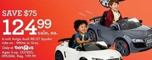 6 volt Avigo Audi R8 GT Spyder Ride On