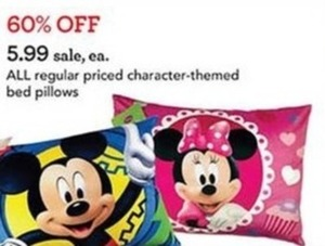 All regular priced character-themed bed pillows