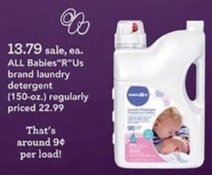 All Babies R Us Brand Laundry Detergent 150oz