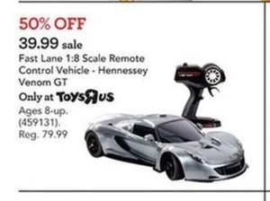 Fast Lane 1:8 Scale Remote Control Vehicle- Hennessey Venom GT