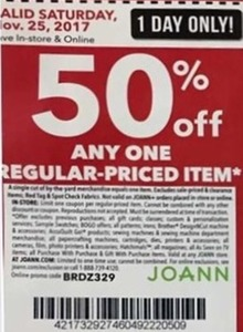 50% Off One Regular Priced Item Nov 25th