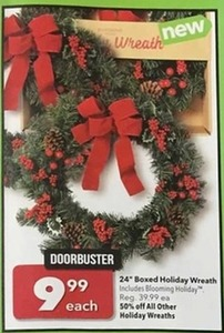 """24"""" Boxed Holiday Wreath"""