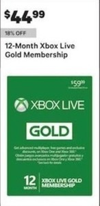12 Month Xbox Live Gold Membership