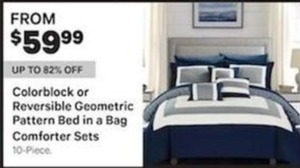 Colorblock or Reversible Geometric Pattern Bed in a Bag Comforter Sets