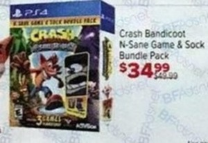 Crash Bandicoot N-Sane Game & Sock Bundle Pack PS4
