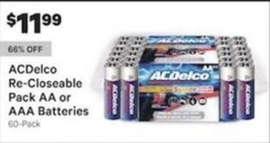 ACDelco Re Closeable Pack AA or AAA Batteries