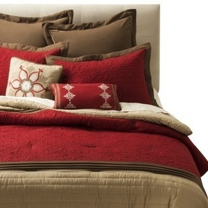 8PC Bedding Set- Red Embroidery (Queen)