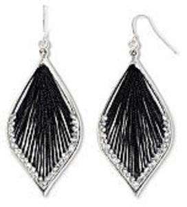 Decree® Black Thread & Crystal Dream Catcher Earrings