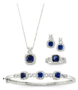 Lab-Created Blue Sapphire & Cubic Zirconia 4PC Set