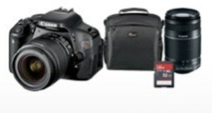 Canon EOS Rebel T3i DSLR Camera w/ 2 Lenses + 32GB Memory Card + Bag