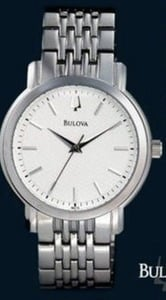 Bulova Silver Tone Watch with White Dial