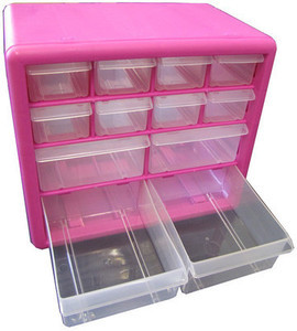 Pink 12-Drawer Parts Organizer