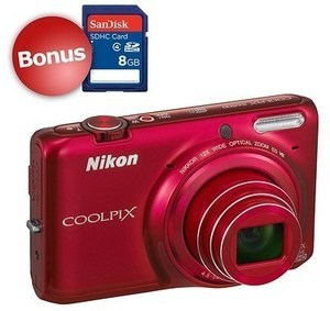 "Nikon Coolpix S6500 16MP 3"" LCD 12x Optical Zoom wi-fi Red Digital Camera"