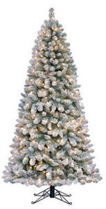 7' Carson Spruce Flocked Pre-Lit Quick Set Tree