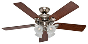 "Hunter 52"" Westminster Ceiling Fan with Light Kit - Brushed Nickel"