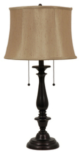 allen + roth 28-in Dark Oil Rubbed Bronze Indoor Table Lamp with Fabric Shade