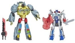Transformers Age of Extinction Silver Knight Optimus Prime and Grimlock Figures