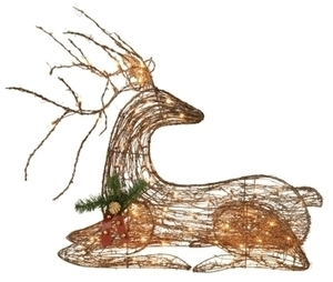 "Celebrations 42"" Lighted Indoor/Outdoor Grapevine Lying Deer"
