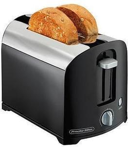 Proctor Silex Black Chrome 2-Slice Toaster