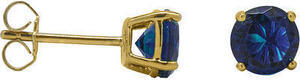 6MM Round Gemstone Sapphire Stud Earring Gold Over Silver
