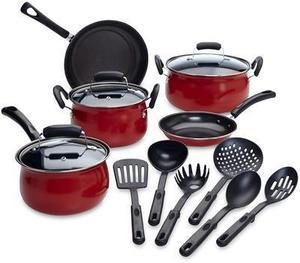 Essential Home 14-Piece Red Non-stick Cookware Set