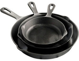 Cooks Pre-Seasoned Cast Iron 3-pc. Fry Pan Set