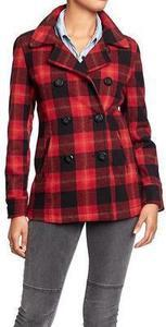Women's Plaid Wool-Blend Peacoats