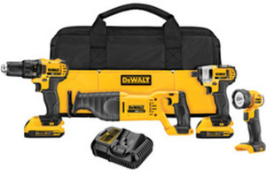 Dewalt 4-Tool 20-Volt Max Lithium Ion Cordless Combo Kit w/ Case