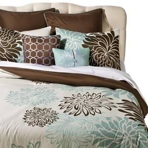Any 8 Piece Floral Print Bedding Set - Blue/Brown