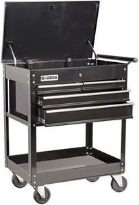 US General 26 in. 4 Drawer 580 lb. Capacity Glossy Black Roller Cart