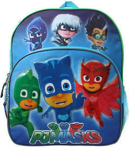 PJ Masks On a Mission Catboy Owlette and Gekko 14 inch Backpack with Side Mesh Pockets